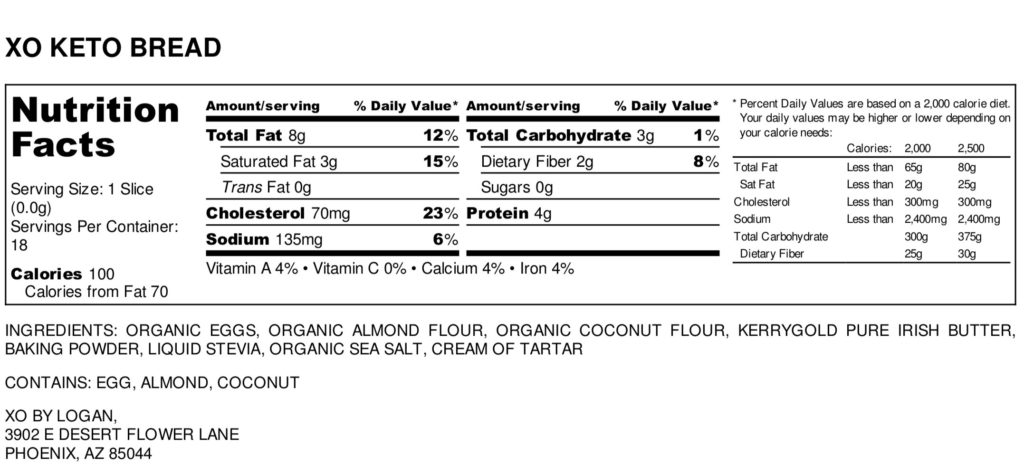 Keto Bread nutritional facts